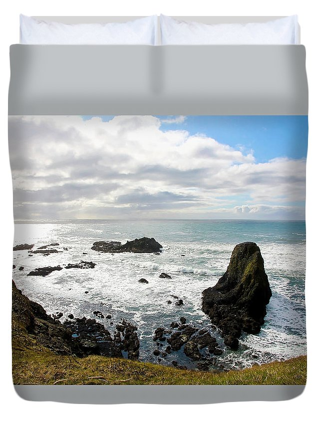 Yaquina Bay Duvet Cover featuring the photograph Yaquina Bay Coastline by Athena Mckinzie