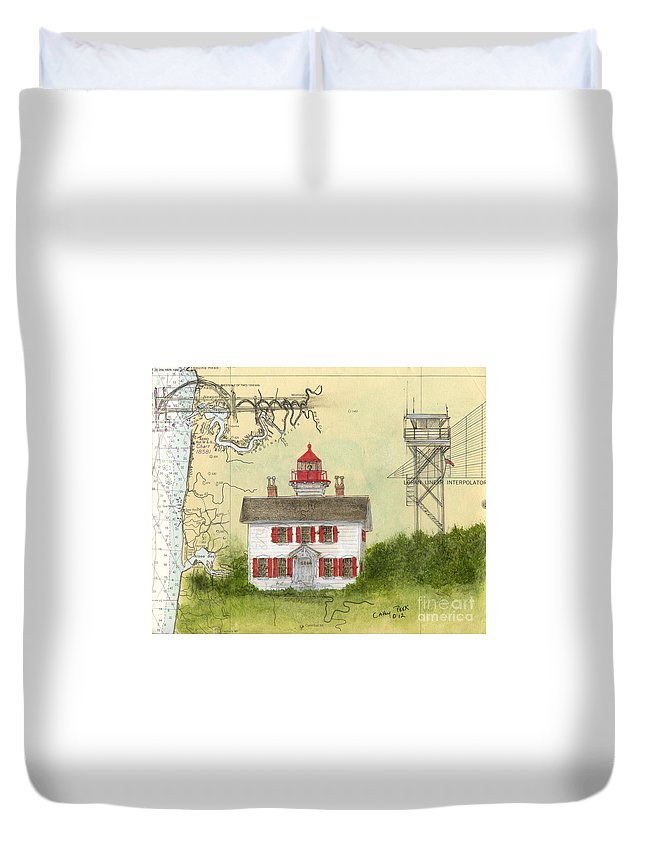 Yaquina Duvet Cover featuring the painting Yaquina Bay Lighthouse Or Nautical Chart Map Art by Cathy Peek