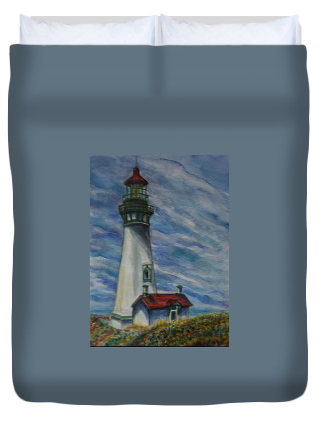 Quin Sweetman Duvet Cover featuring the painting Yaquina Head Lighthouse Original Painting by Quin Sweetman