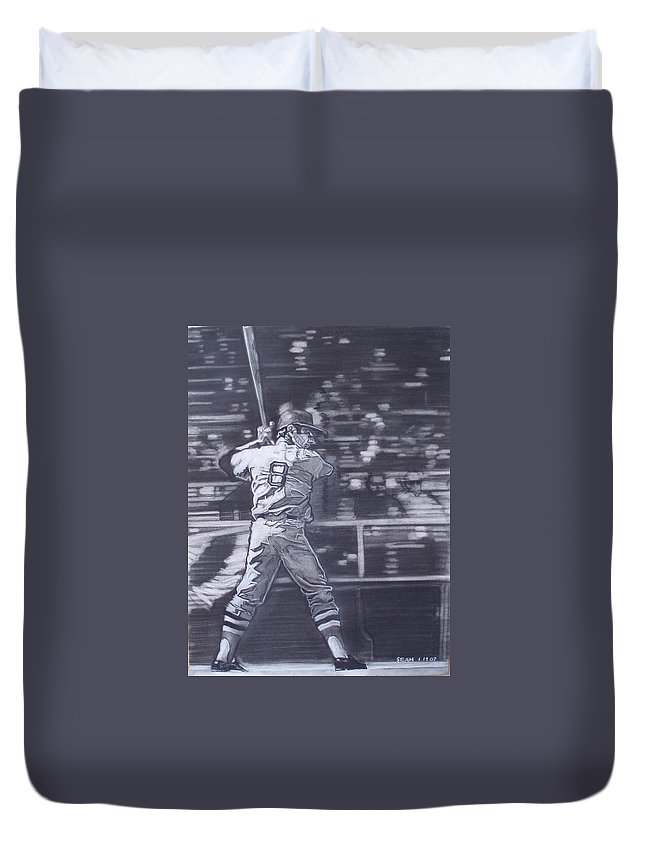 Charcoal Duvet Cover featuring the drawing Yaz - Carl Yastrzemski by Sean Connolly