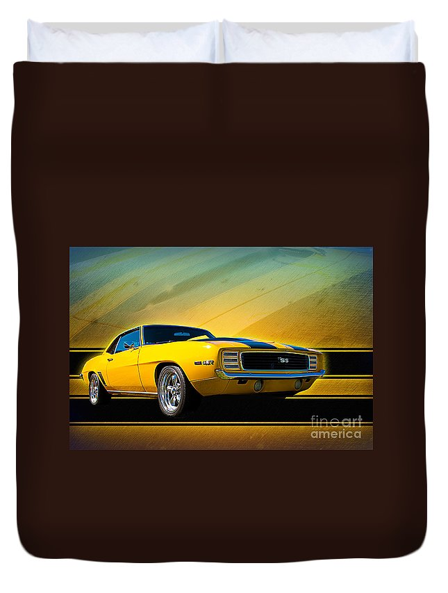 Yellow Duvet Cover featuring the photograph Yellow 1969 Camaro Ss by Stuart Row