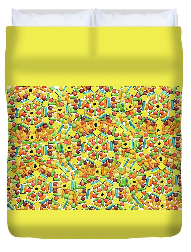 Temptation Duvet Cover featuring the photograph Yellow Abstract Pattern Made Out Of by Paper Boat Creative