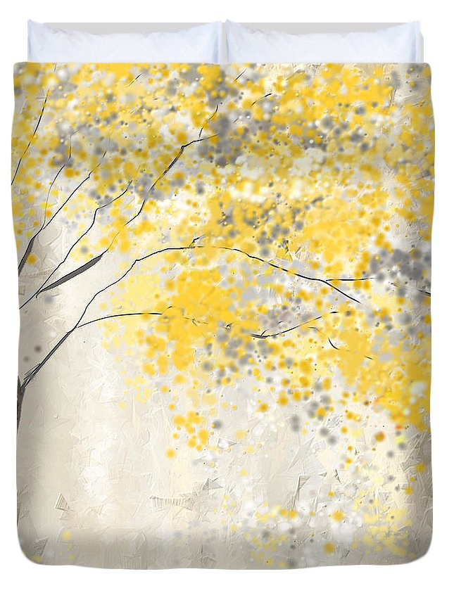 Yellow Duvet Cover featuring the painting Yellow And Gray Tree by Lourry Legarde