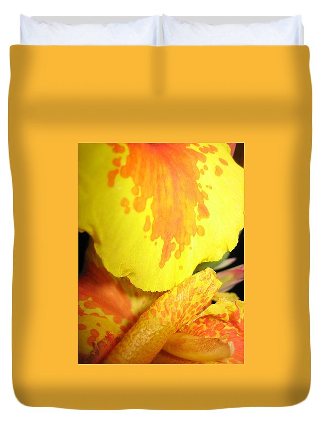 Flowers Duvet Cover featuring the photograph Yellow And Orange Petals Illuminated by Hope VanCleaf