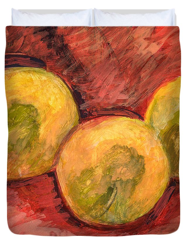 Red Duvet Cover featuring the painting Yellow And Red by Richard Glen Smith