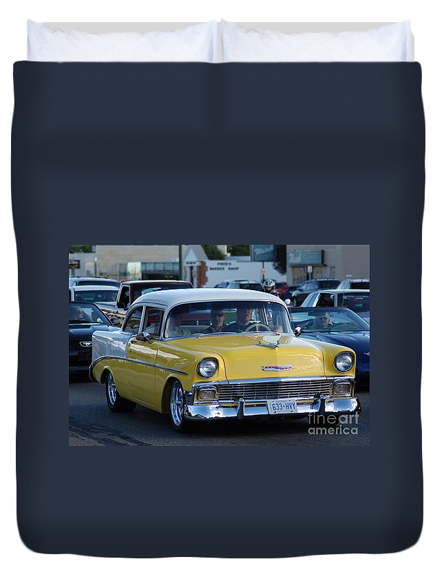 Duvet Cover featuring the photograph Yellow And White Classic Chevy by Optical Playground By MP Ray