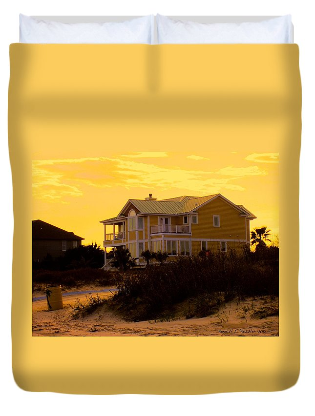 Kendall Kessler Duvet Cover featuring the photograph Yellow Beauty At Isle Of Palms by Kendall Kessler