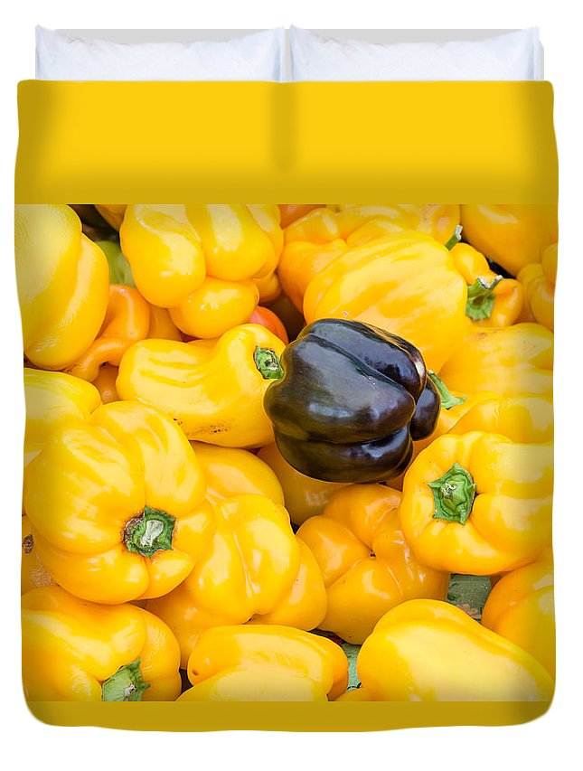 Agriculture Duvet Cover featuring the photograph Yellow Bell Peppers by John Trax