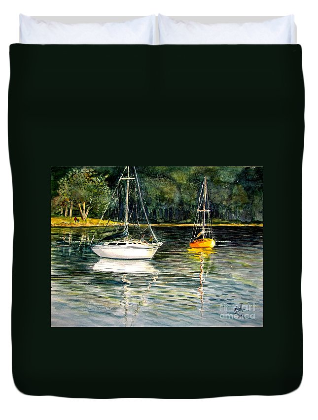 Sailboats Duvet Cover featuring the painting Yellow Boat Sister Bay by Marilyn Smith