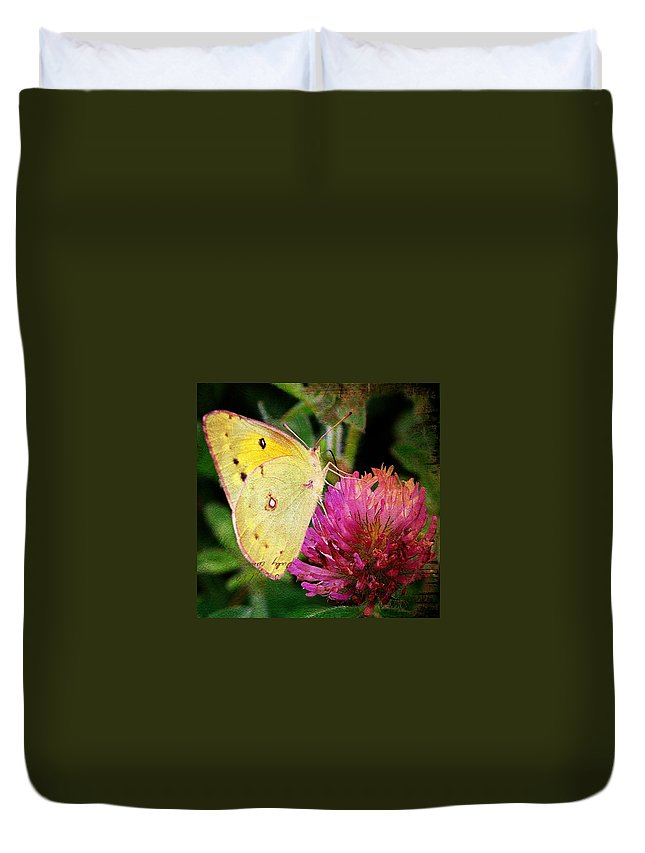 Butterfly Duvet Cover featuring the photograph Yellow Butterfly On Pink Clover by Cassie Peters