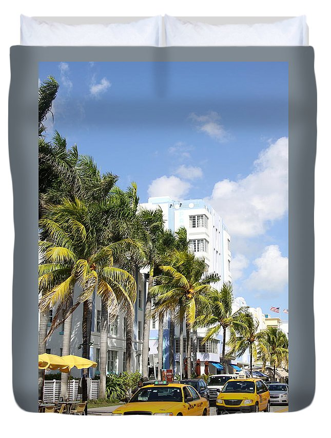 Miami Duvet Cover featuring the photograph Yellow Cabs On Ocean Drive by Christiane Schulze Art And Photography
