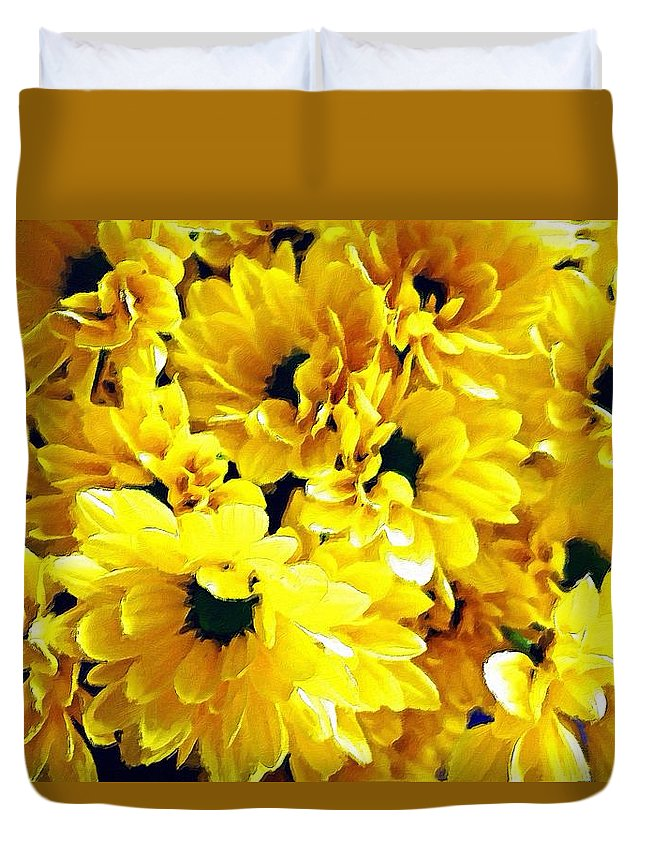 Daisy Duvet Cover featuring the painting Yellow Daisies by Florian Rodarte
