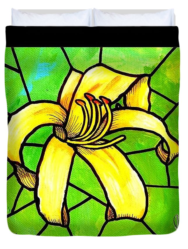 Day Lily Duvet Cover featuring the painting Yellow Day Lily by Jim Harris
