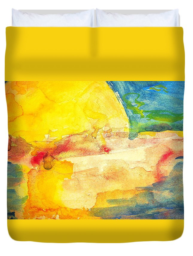 Watercolor Duvet Cover featuring the painting Yellow Explosion by Jacqueline Schreiber