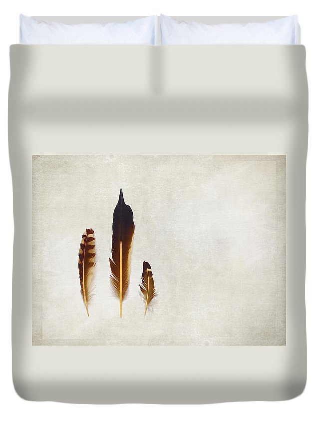 Feathers Duvet Cover featuring the photograph Yellow Feathers by Angie Rea