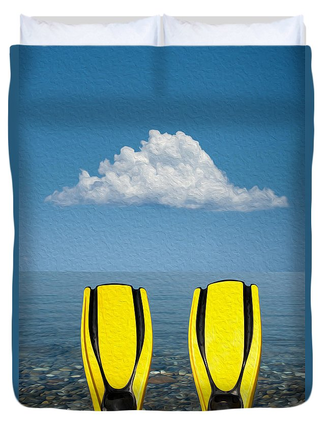 Active Duvet Cover featuring the digital art Yellow Fins by Roy Pedersen