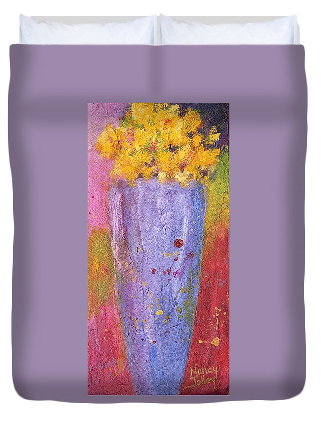 Flowers Duvet Cover featuring the painting Yellow Flowers by Nancy Jolley