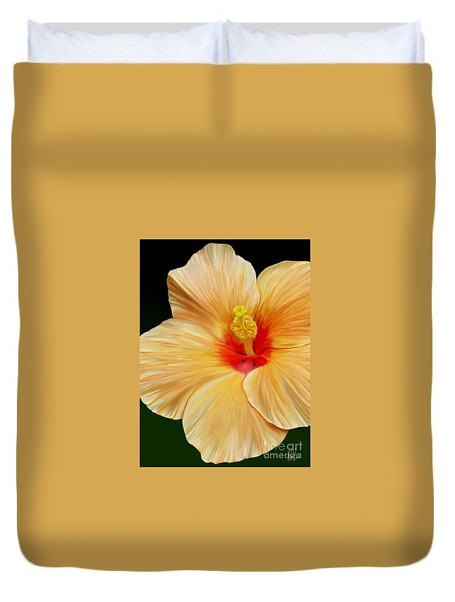 Hibiscus Duvet Cover featuring the painting Yellow Hibiscus by Rand Herron
