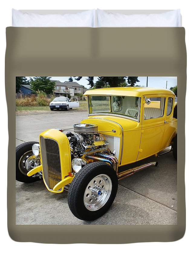 Car Duvet Cover featuring the photograph Yellow Hot Rod by VLee Watson