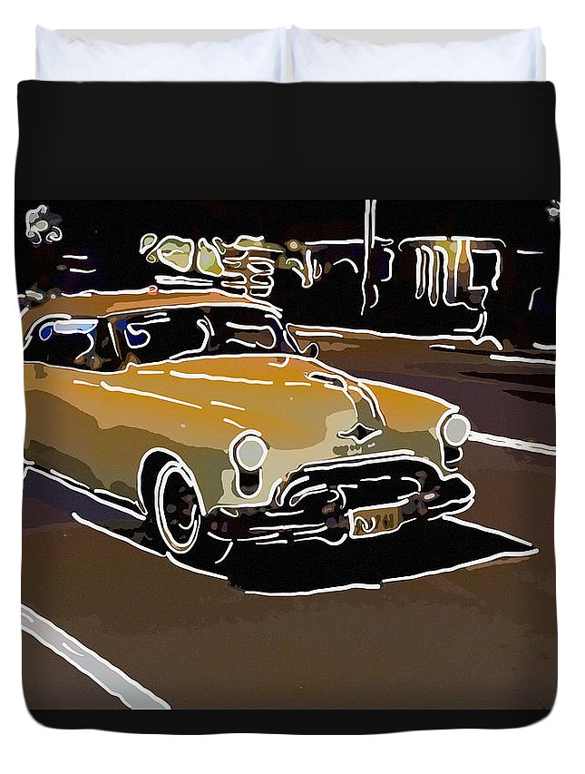 Car Duvet Cover featuring the photograph Yellow Hotrod by Alice Gipson