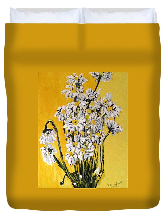 Daisy Duvet Cover featuring the painting Yellow by Ian MacDonald