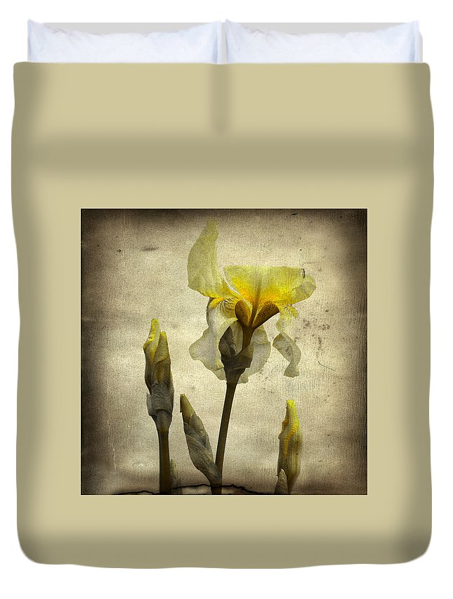 Vintage Colors Duvet Cover featuring the photograph Yellow Iris - Vintage Colors by Gothicrow Images