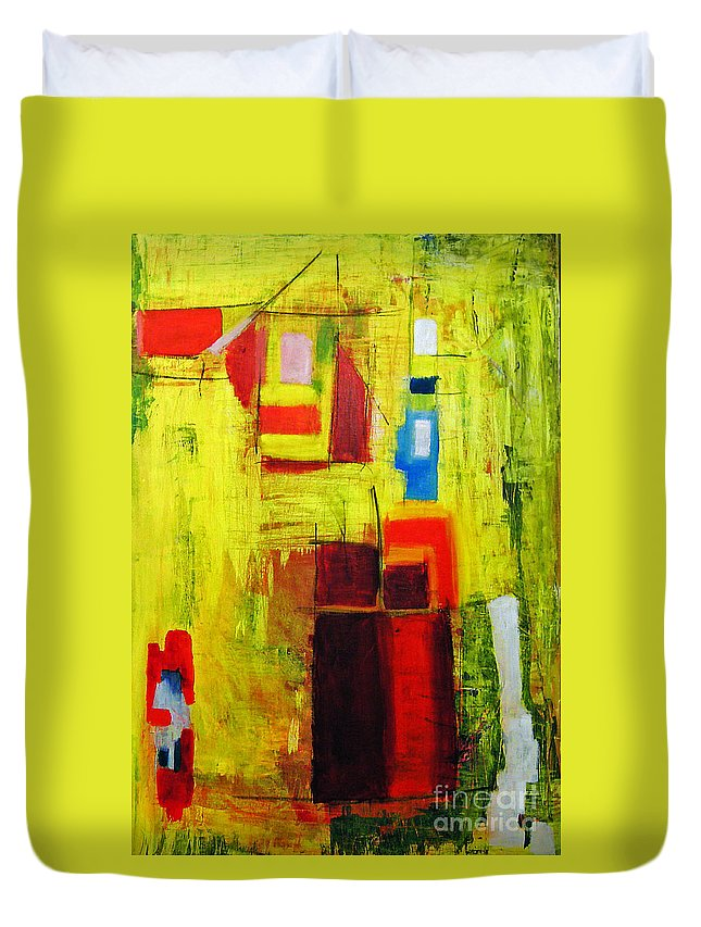 Abstract Painting Duvet Cover featuring the painting Yellow by Jeff Barrett
