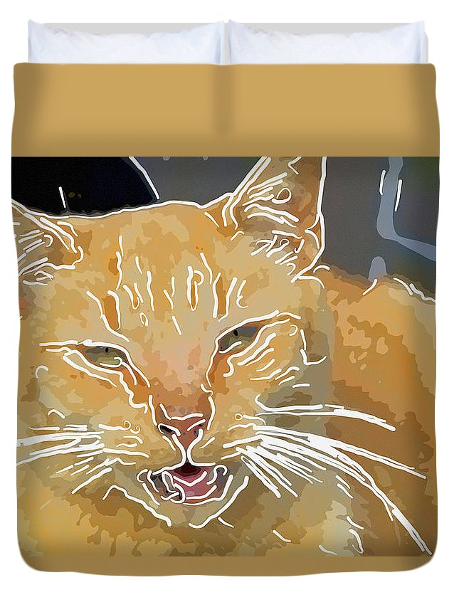 Kitty Duvet Cover featuring the photograph Yellow Kitty by Alice Gipson