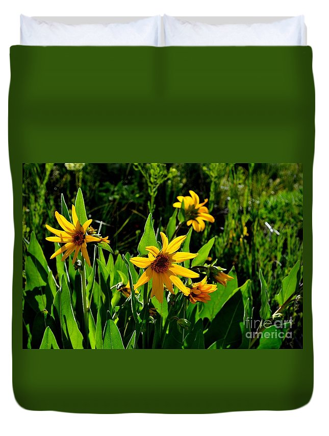 Yellow Duvet Cover featuring the photograph Yellow Mountain Flowers by Crystal Miller