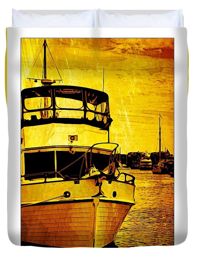 Boat Duvet Cover featuring the photograph Yellow On The Water by Alice Gipson
