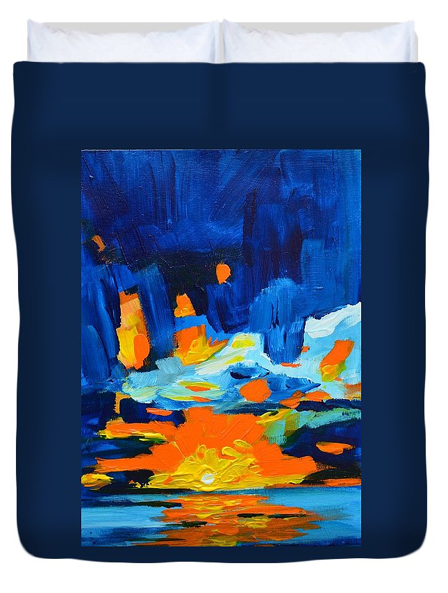 Art Duvet Cover featuring the painting Yellow Orange Blue Sunset Landscape by Patricia Awapara