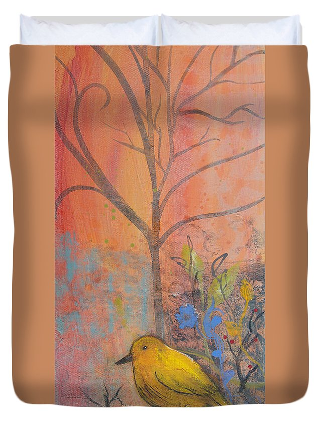 Yellow Bird Duvet Cover featuring the painting Yellow Peace Bird On Orange by Robin Maria Pedrero