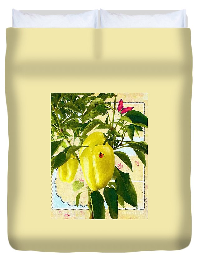 Butterfly Duvet Cover featuring the painting Yellow Pepper by Liane Wright