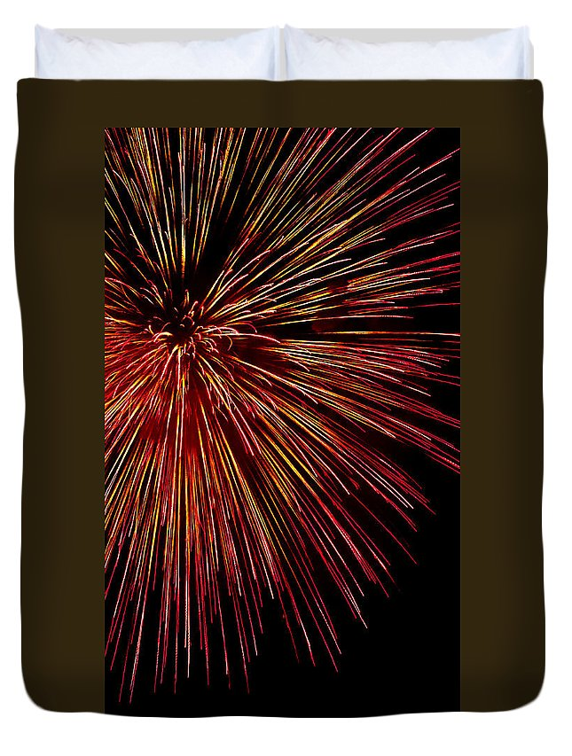 Fireworks Duvet Cover featuring the photograph Yellow Red Firework Explosion by Weston Westmoreland