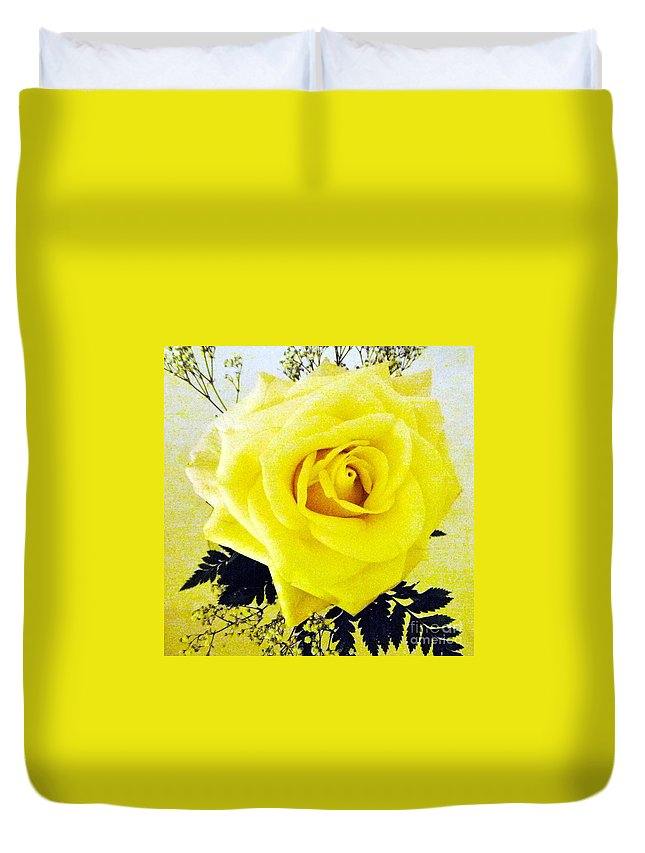 Yellow Rose Duvet Cover featuring the photograph Yellow Rose 2 by Barbie Corbett-Newmin