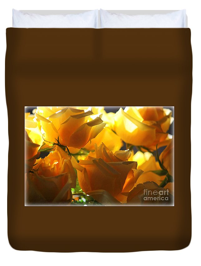 Yellow Roses Duvet Cover featuring the photograph Yellow Roses And Light by Carol Groenen