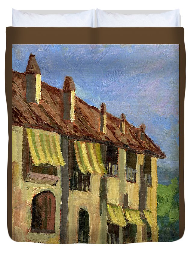 Yellow Shutters Duvet Cover featuring the painting Yellow Shutters Costa Del Sol by Diane McClary