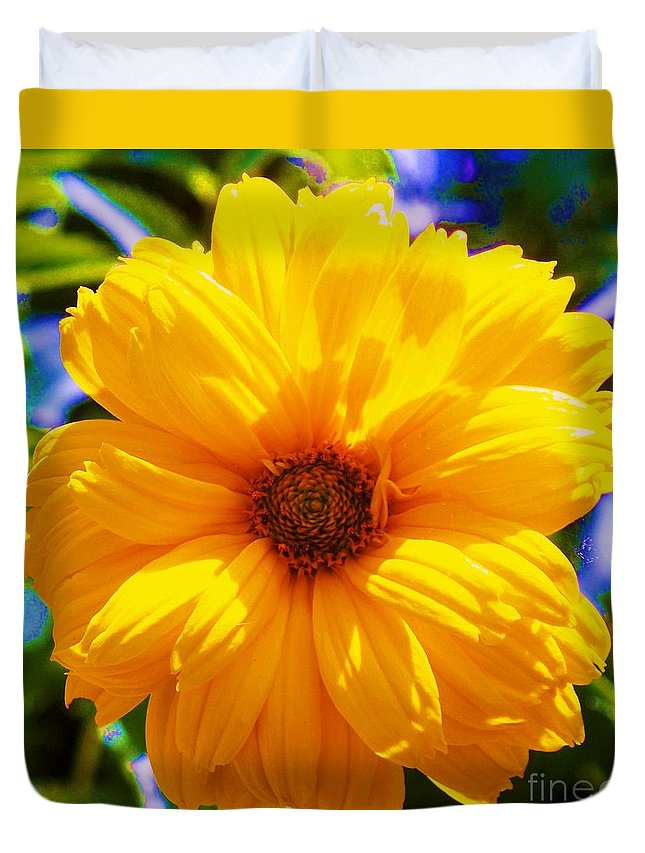 Flora Duvet Cover featuring the photograph Yellow Sunflower by Eric Schiabor