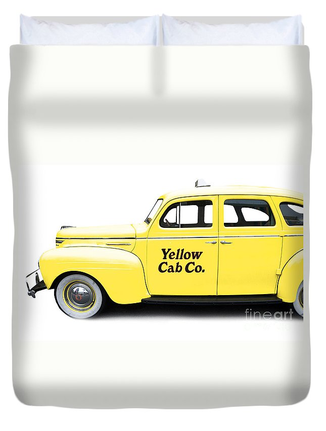 Car Duvet Cover featuring the photograph Yellow Taxi Cab by Edward Fielding
