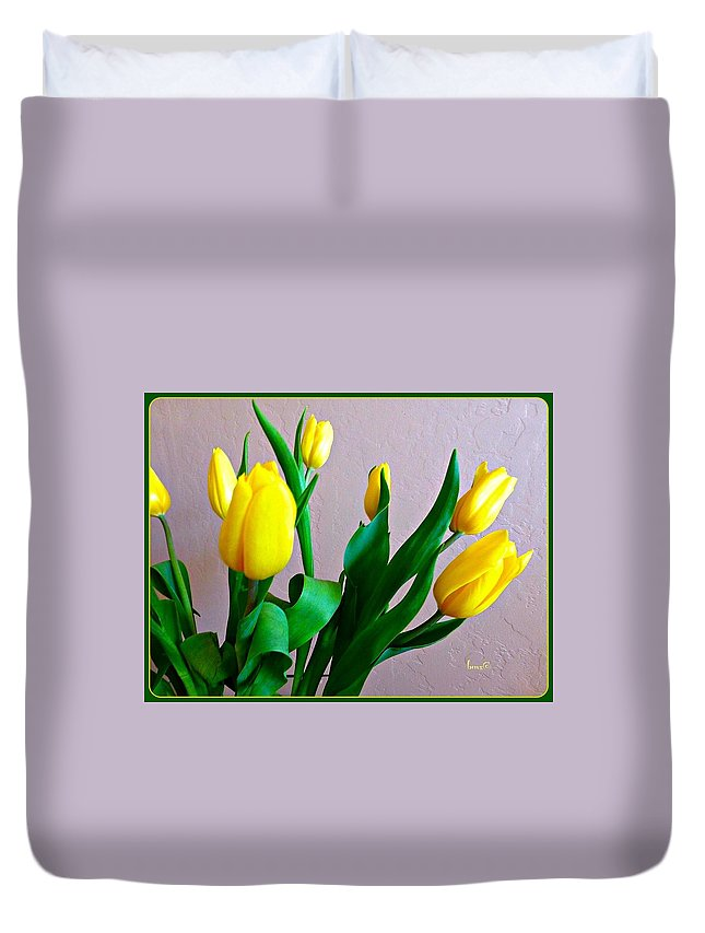 Flowers Duvet Cover featuring the photograph Yellow Tulips by Barbara Zahno