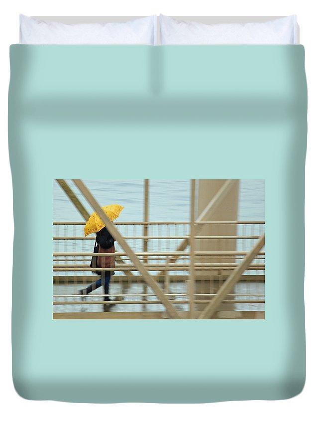 Marine Duvet Cover featuring the photograph Yellow Umbrella by E Faithe Lester