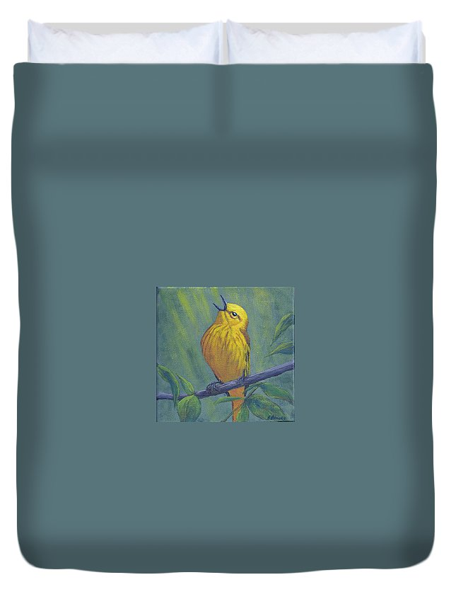 Yellow Duvet Cover featuring the painting Yellow Warbler by Fran Brooks