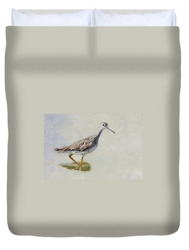 Sandpiper Duvet Cover featuring the photograph Yellowlegs by Bill Wakeley