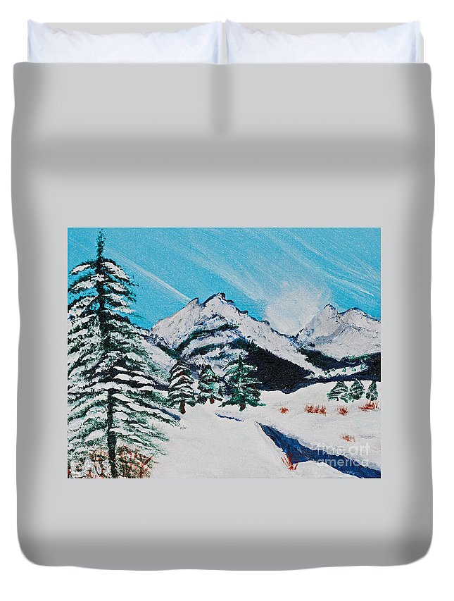 Yellowstone Duvet Cover featuring the painting Yellowstone Dream by Lloyd Alexander