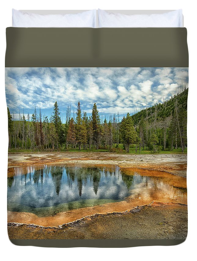 Tranquility Duvet Cover featuring the photograph Yellowstone National Park by Patrick Leitz