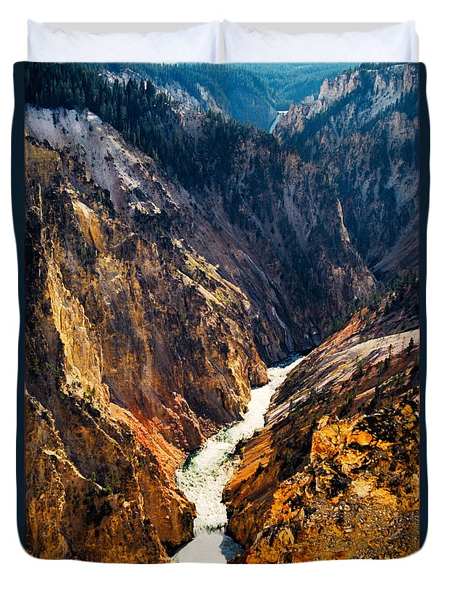 Yellowstone Duvet Cover featuring the photograph Yellowstone River by Kathy McClure