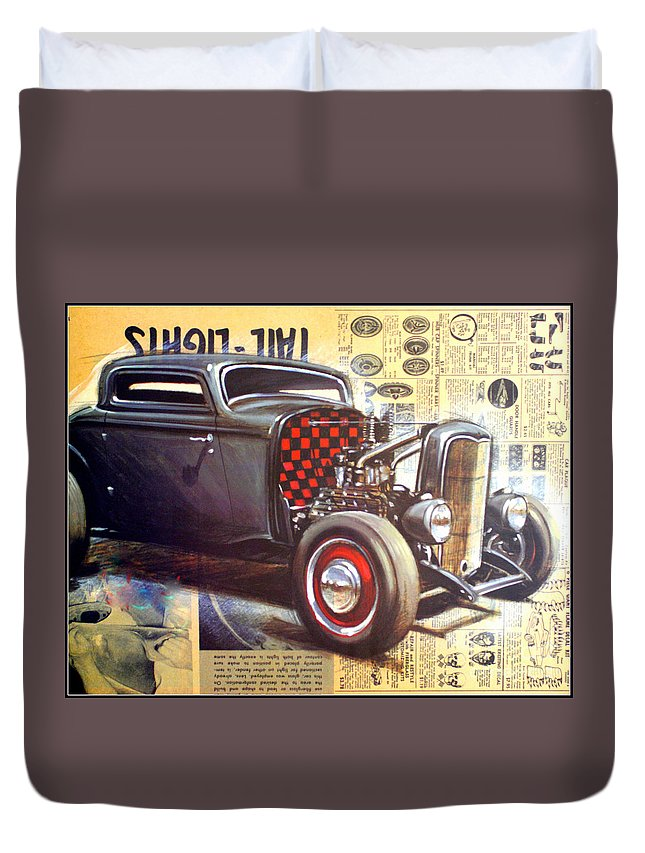 Kip Krause Duvet Cover featuring the photograph Yesterday Hotrod by Kip Krause