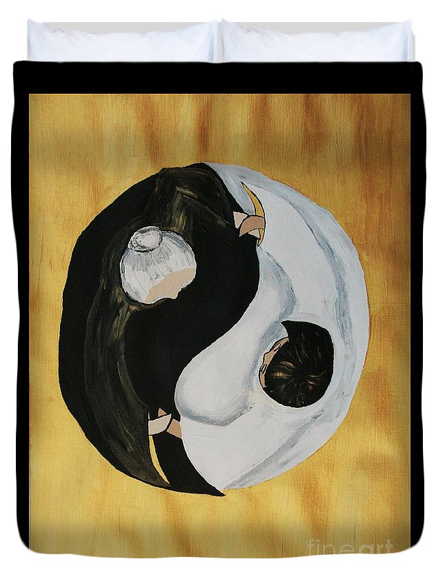 Family Duvet Cover featuring the painting Yin Yang Generations Hand In Hand by Cris Motta