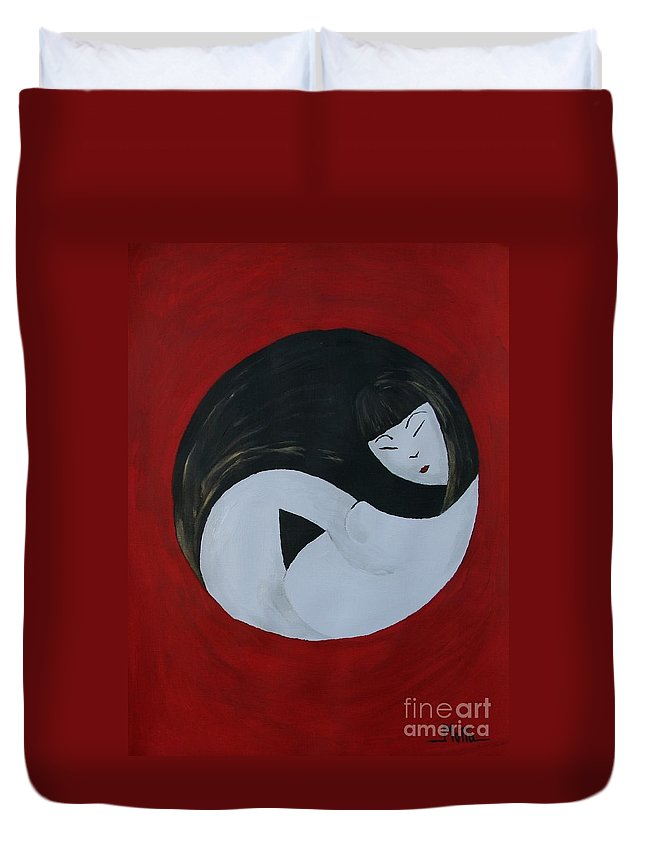 Maternity Duvet Cover featuring the painting Yin Yang Maternity by Cris Motta