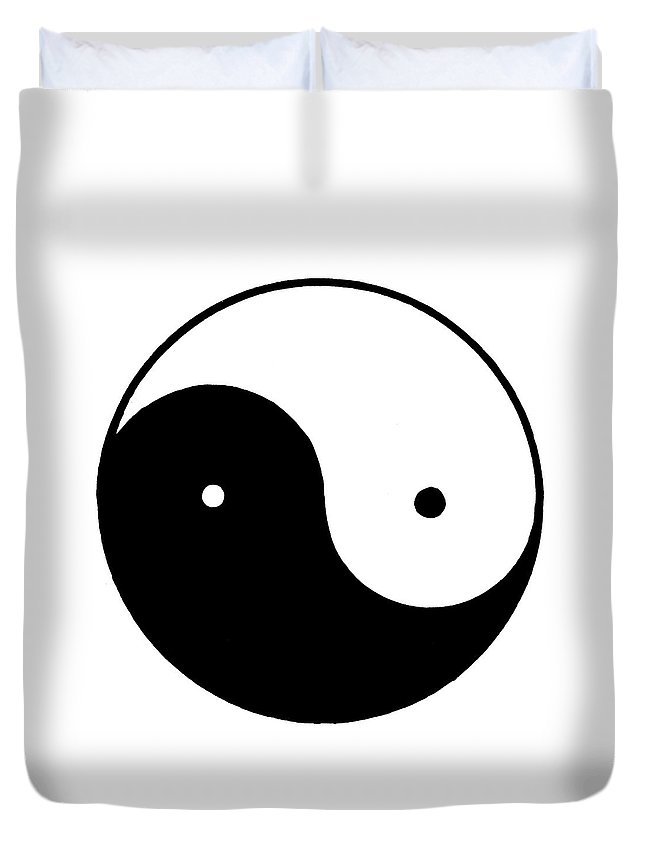 Chinese Duvet Cover featuring the painting Yin Yang Symbol by Granger